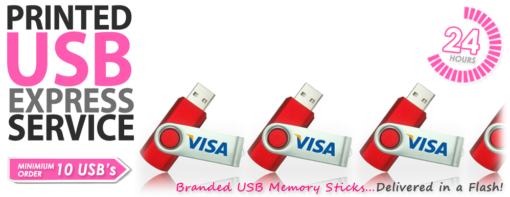 Logo Branded USB Memory Sticks Express Service