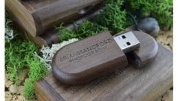 Wooden Pebble USB Drive - Dark Wood 1