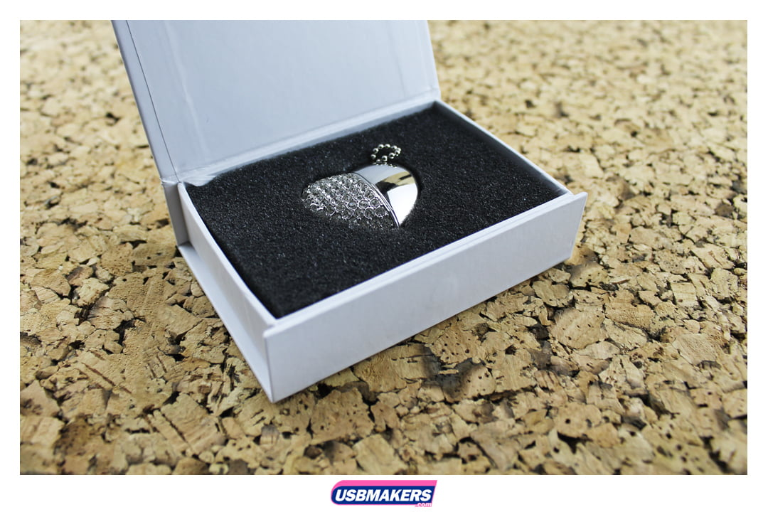 Crystal Heart Branded USB Memory Stick 2