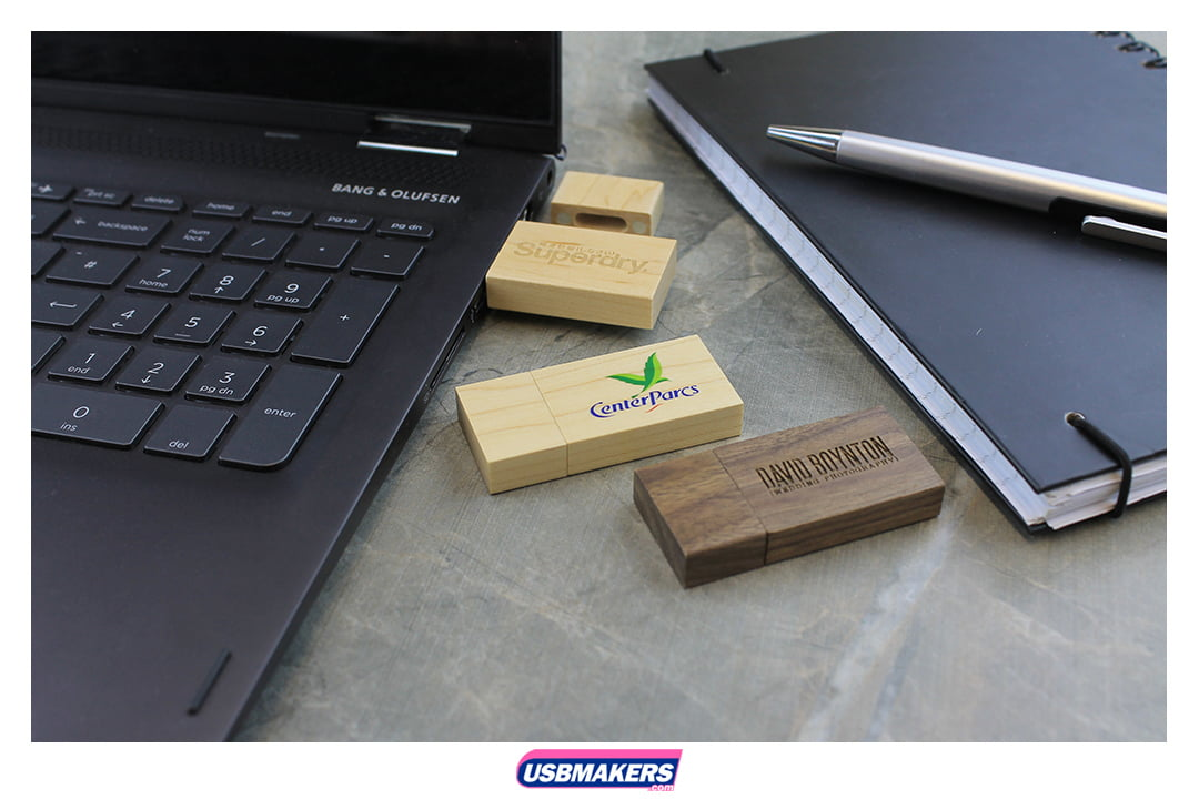 Wooden Block Branded USB Memory Stick Image 1