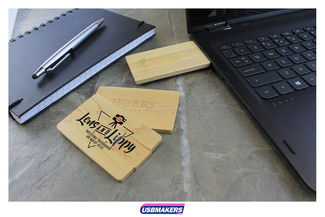 Wooden Card Branded USB Memory Stick Image 1