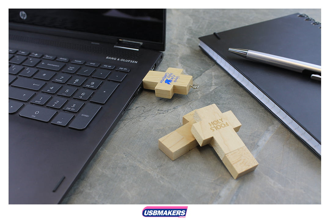 Wooden Cross Branded USB Memory Stick Image 1