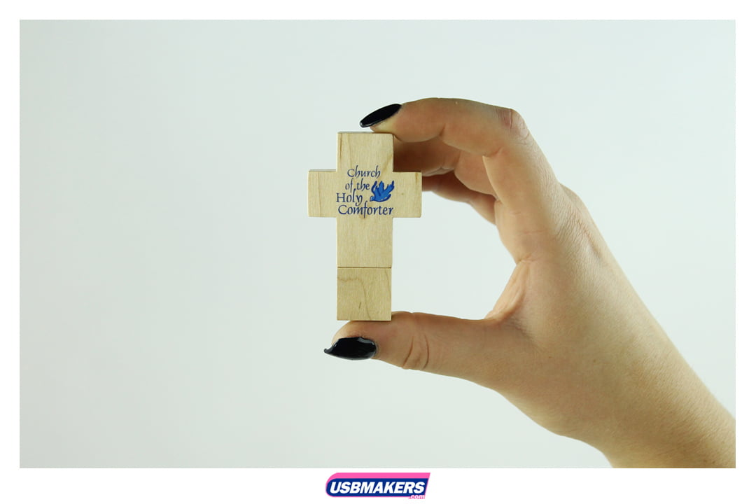 Wooden Cross Branded USB Memory Stick Image 3