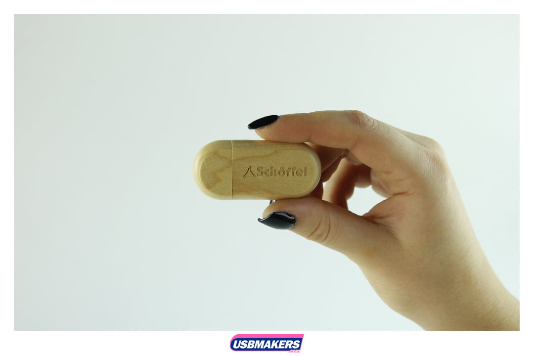 Wooden Pebble Branded USB Memory Stick Image 3