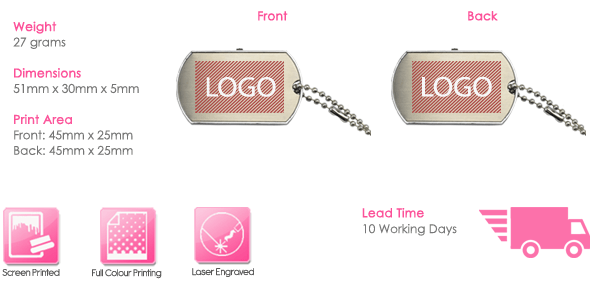Dog Tag USB Stick Print Area