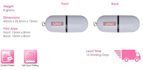 Flat Pod USB Stick Print Area