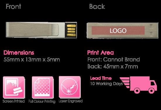 Money Clip USB Stick Print Area