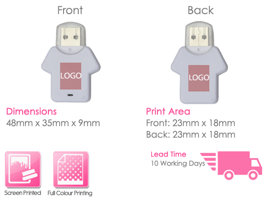 T-Shirt USB Stick Print Area