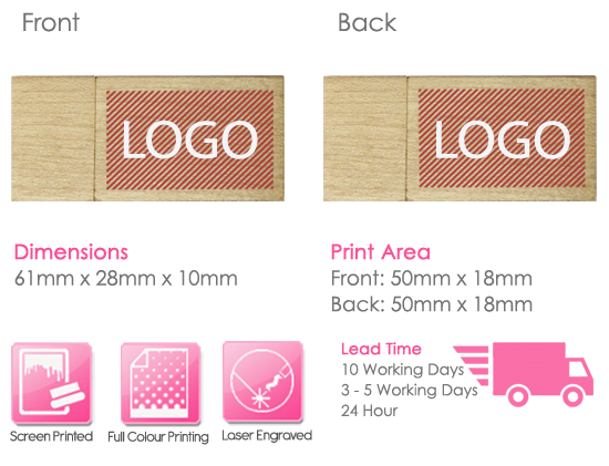 Wooden Block USB Stick Print Area