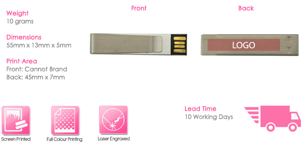 Money Clip USB Stick Print Area