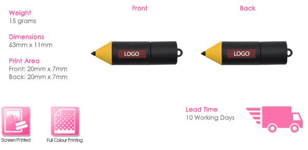 Pencil USB Stick Print Area