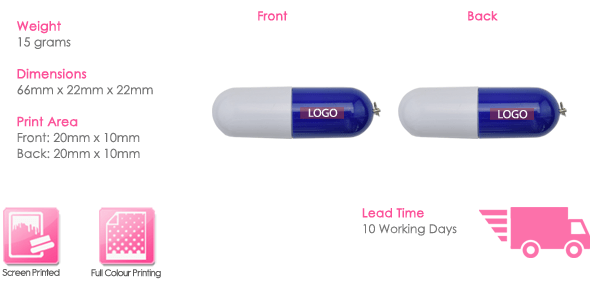 Pill USB Stick Print Area