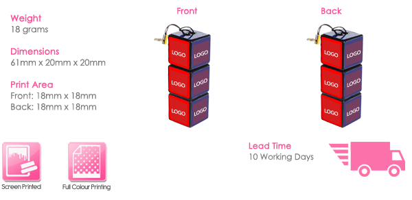 Rubix Cube USB Stick Print Area
