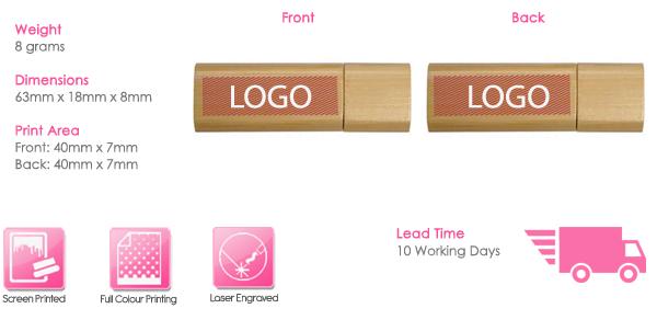 Wooden Stick USB Stick Print Area