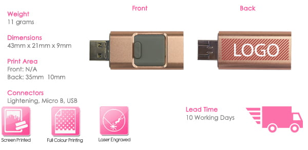 Enki Iphone Lightning USB Drive Print Area