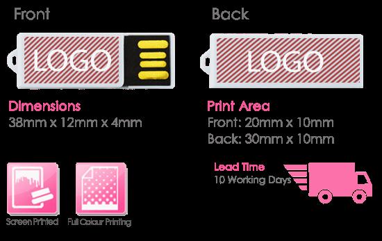 Paper Clip USB Stick Print Area