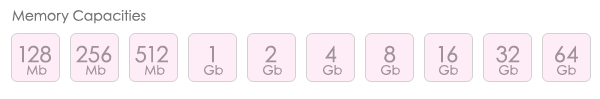 Mini Gold Twister USB Memory Capacities