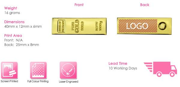 Mini Gold Twister USB Stick Print Area