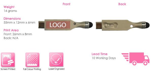 Rhea USB Stick Print Area