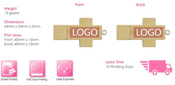 Wooden Cross USB Stick Print Area